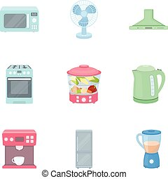 Household appliances set icons in cartoon style. Big collection of household appliances vector symbol stock illustration