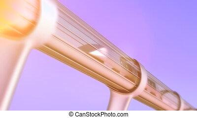 monorail futuristic train in tunnel. 3d rendering