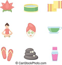 Spa set icons in cartoon style. Big collection of spa vector...