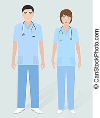 Hospital staff concept. Couple of man orderly and woman...