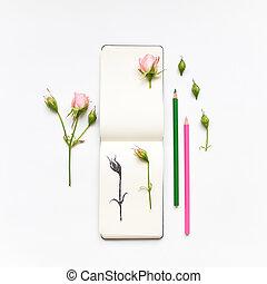 Colorful sketchbook, roses and pencils. Botanic illustration...