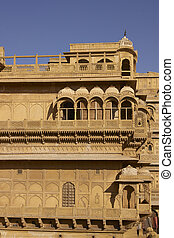 Jaisalmer Palace in Rajasthan - Intricately carved walls and...