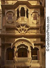 Historic Haveli in Jaisalmer - Detail of ornate window...