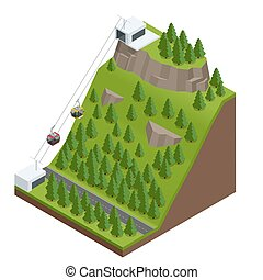 Cableway in the mountains. - Vector Isometric infographic...