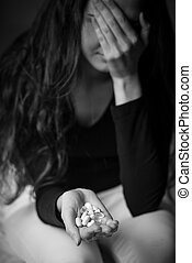 Woman attempting to commit suicide - Young depressed woman...