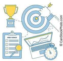 Business goal achievement illustration - Target with man's...