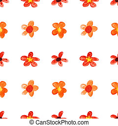 Red childlike watercolor flowers - seamless floral pattern