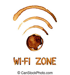 Wi-Fi zone sign by coffee stains
