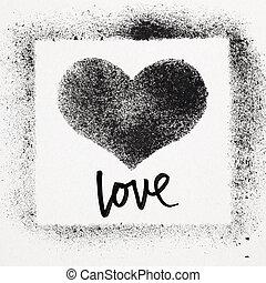 Love - Grunge heart - Love - Grunge stencil heart. Street...