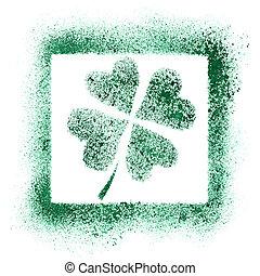 Four-leaf Irish clover - Shamrock graffiti - Green stenciled...