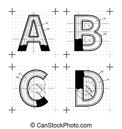 Architectural sketches of A B C D letters. Blueprint style font.
