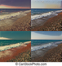 Seascape at sunrise, polyptych