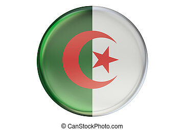 Badge with flag of Algeria, 3D rendering isolated on white...