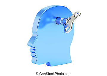 head with wind-up key, 3D rendering isolated on white...