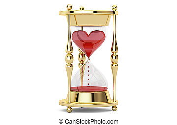 Heart in hourglass, 3D rendering