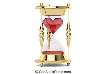 Heart in hourglass, 3D rendering