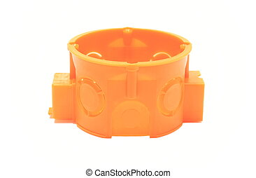 Orange electrical box on white background - Orange plastic...