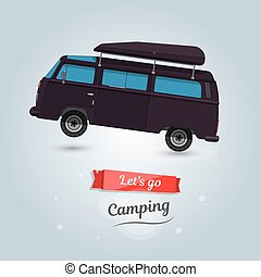 Lets go camping, tourists travel by car. Funny cartoon minivan.
