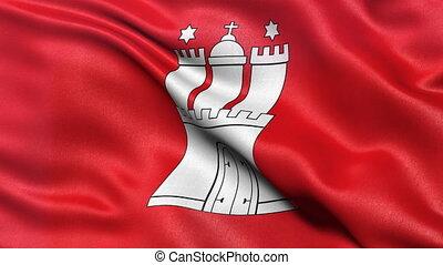 Hamburg state flag seamless loop - Seamless loop of Hamburg...