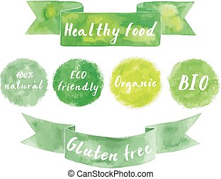 Watercolor green logos set. Watercolor ribbons. Watercolor...