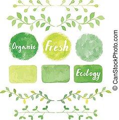 Watercolor green logos and laurel leaves set. - Watercolor...