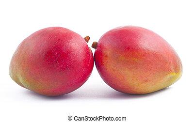Two freshness mango on white