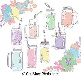 Jars for smoothies and lemonades. Citrus and floral borders....