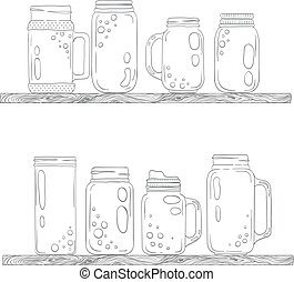 Jars for smoothies and lemonades. Scandinavian style set....