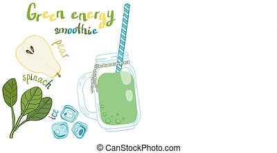 Recipe illustration smoothie (cocktail). Vector hand drawn...