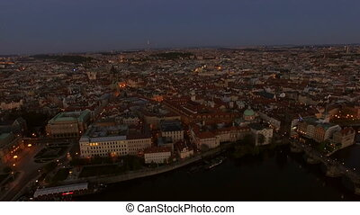Aerial view of old center of Prague, Czech Republic - Aerial...