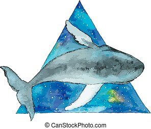 Watercolor whale in space triangle.