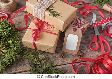 Christmas gift with a greeting card.