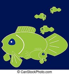 Green fishes on blue background