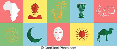 africa icons set - set of icons in the style of a flat...