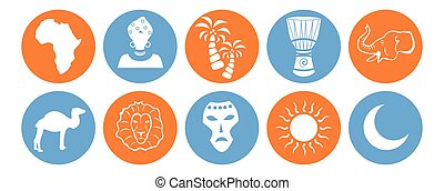 the africa icons - set of icons in the style of a flat...