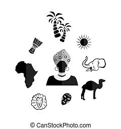 the africa black - set of icons in the style of a flat...