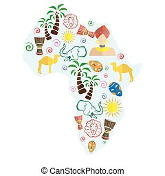 africa flat design - set of icons in the style of a flat...