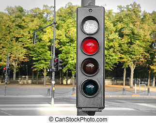 Traffic lights red. - Traffic lights with a red color on the...