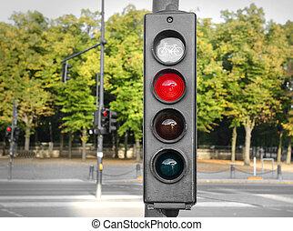 Traffic lights red.
