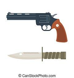 Vector handgun and knife icon. - Weapon vector handgun icon....