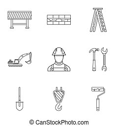 Construction tools icons set, outline style - Construction...