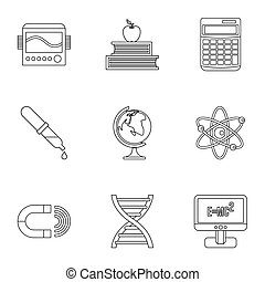 Scientific research icons set, outline style - Scientific...