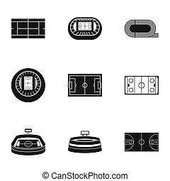 Stadium icons set, simple style - Stadium icons set. Simple...