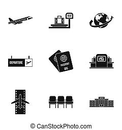Airport check-in icons set, simple style - Airport check-in...