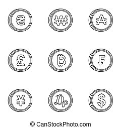 Finance icons set, outline style - Finance icons set....