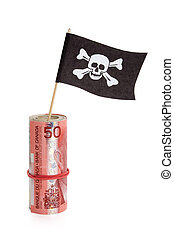Pirate Flag and Dollar - Pirate Flag and Canadian Dollar,...