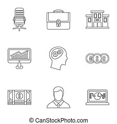 Business icons set, outline style - Business icons set....