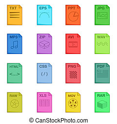 File extension icons set, cartoon style - File extension...