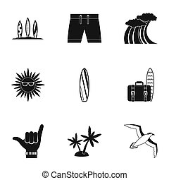 Surfing icons set, simple style - Surfing icons set. Simple...