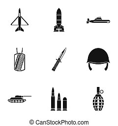 Military defense icons set, simple style - Military defense...